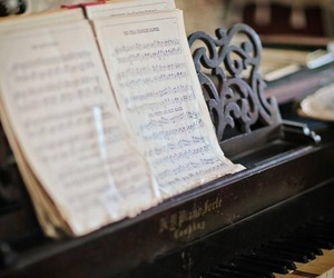 notes, piano, and music image