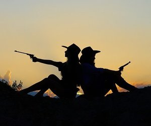 cowgirls, pistols, and sunset image
