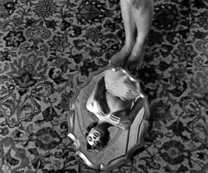 mirror, woman, and black and white image
