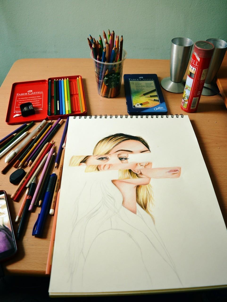 art, artist, and portrait image