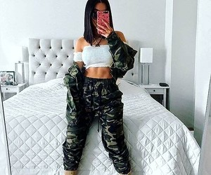 camo jacket, camo pants, and white off shoulder top image