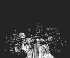 girl, thinking, and mess image