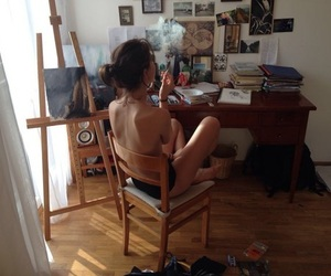 art, cigarette, and paintings image