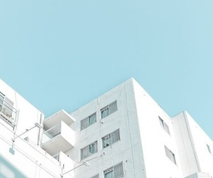 blue, building, and white image