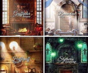 slytherin, gryffindor, and harry potter image
