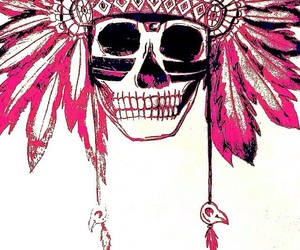 pink, skull, and cool image