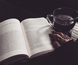 book, coffee, and dark image