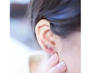 ear, flower, and tattoo image