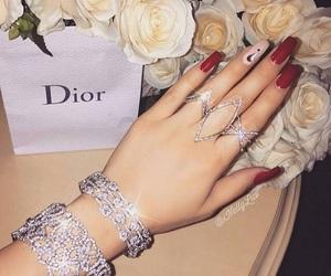 nails, dior, and diamond image