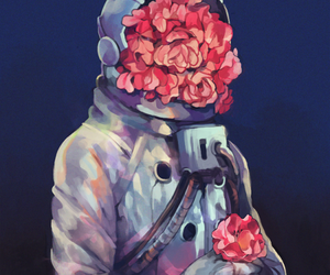 flowers, astronaut, and space image