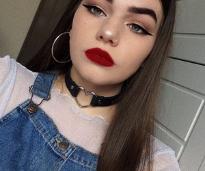 choker, girl, and makeup image