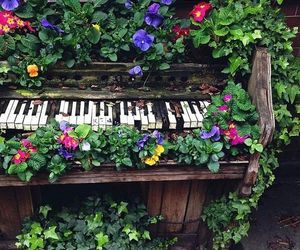 flowers, piano, and nature image