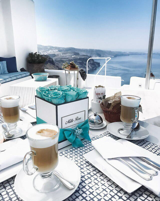 coffee, flowers, and sea image
