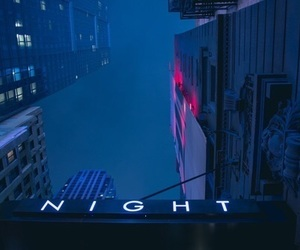 night, blue, and neon image