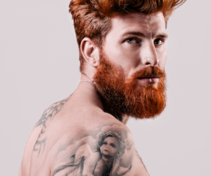 man, beard, and tattoo image
