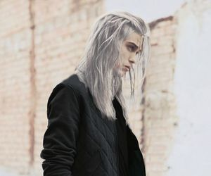 model, silver hair, and guy long hair image