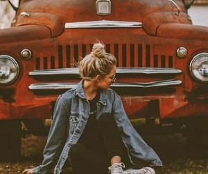 girl, autumn, and car image