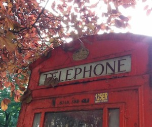 london, phone booth, and telephone image