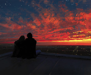 sunset, couple, and sky image