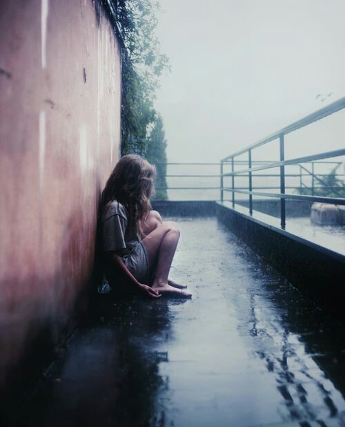girl, alone, and rain image