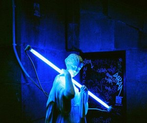 blue, neon, and statue image