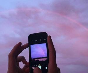 sky, iphone, and purple image