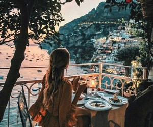 girl, travel, and dinner image