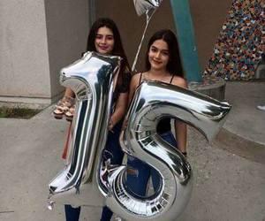 balloons, birthday, and girls image