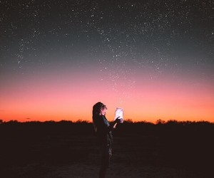 sky, girl, and lights image