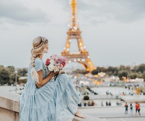 paris, flowers, and dress image