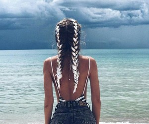girl, beach, and braid image