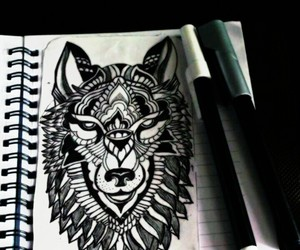 b&w, wolf, and sketch image