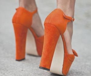 shoes, orange, and heels image