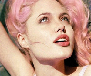 Angelina Jolie, pink, and hair image