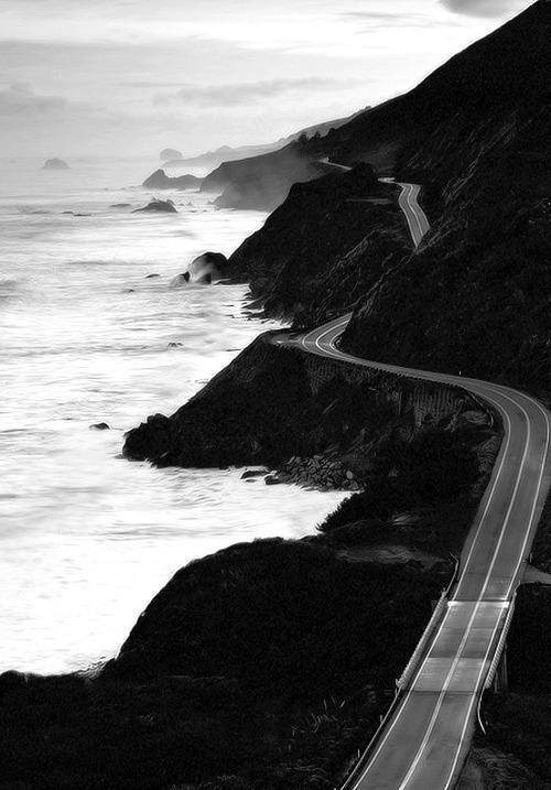 ocean, road, and sea image