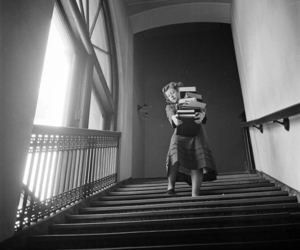 black and white and books image