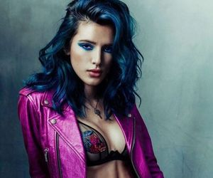 blue hair, lips, and makeup image