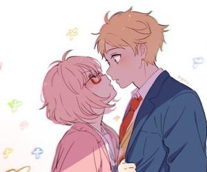kyoukai no kanata, anime, and kiss image