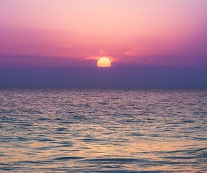 nature, ocean, and sunset image