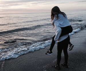 cute, beach, and couple image