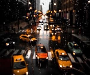 rain, city, and taxi image