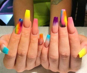 nails, colorful, and rainbow image