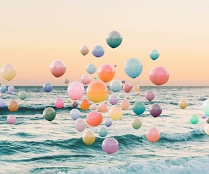 balloons, beach, and sea image