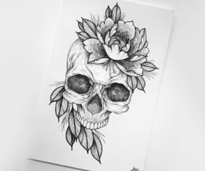 art, skull, and tattoo image