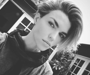 ruby rose and black and white image