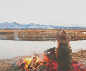 camping, travel, and fire image