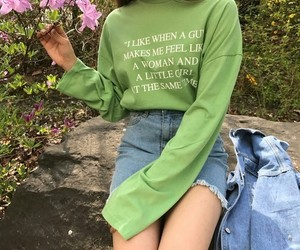 girl, green, and fashion image