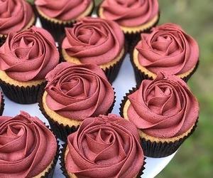 cupcake, food, and rose image