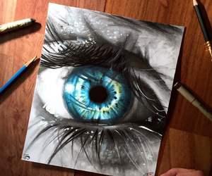amazing, black and white, and blue eye image