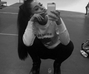 ariana grande, ariana, and black and white image